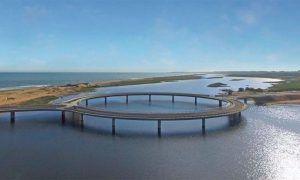 perspectiva de puente con forma de anillo