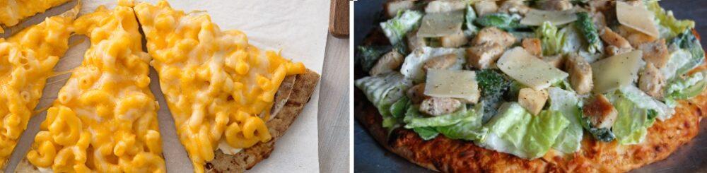 Mac & cheese pizza y pizza césar