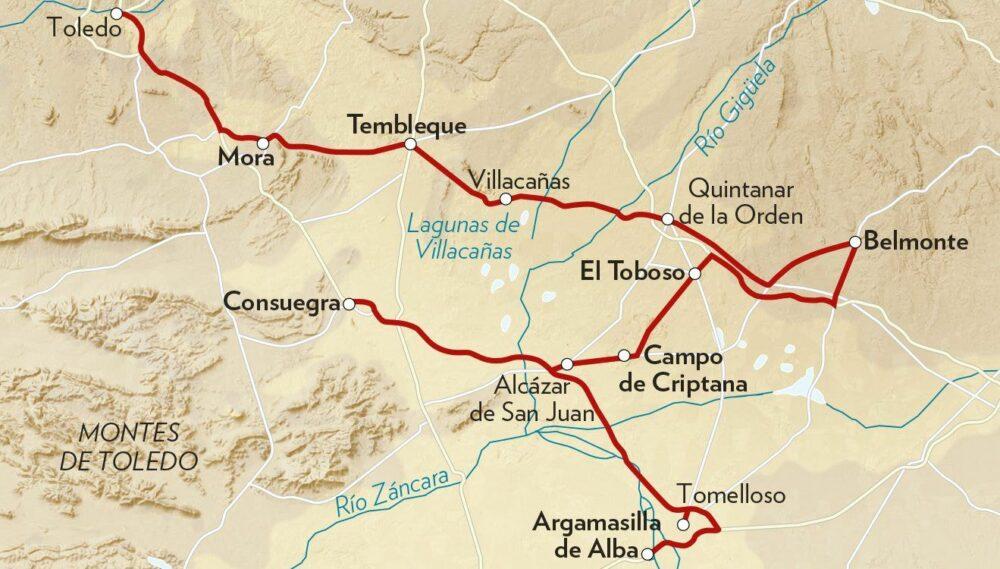 Tramos principales de la Ruta de Don Quijote