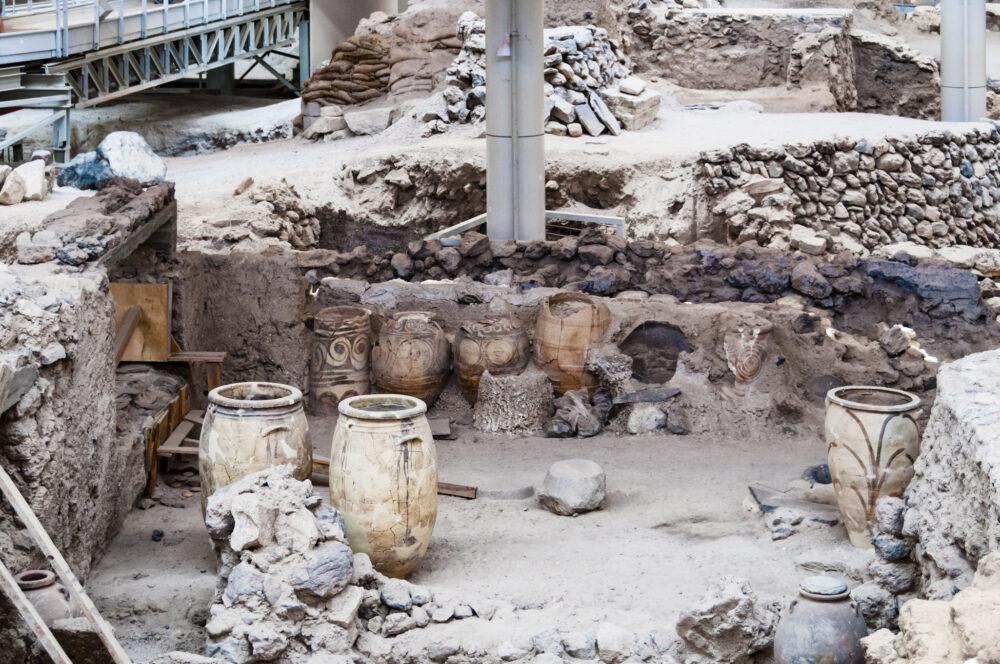 Restos arqueológicos de Thera (excavación Akrotiri)
